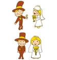 Wedding Couple On White Background vector image vector image