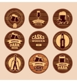 Wooden oak barrel signboards Retro circle vector image