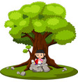 girl sitting and reading a book vector image