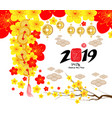 2019 chinese new year greeting card paper cut vector image vector image