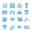 banking blue icons set vector image