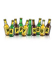 beer bottles with happy hour vector image