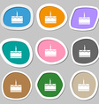Birthday cake icon symbols Multicolored paper vector image