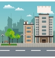 buildings tree brench park urban streetscape vector image