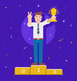 business man holding trophy on pedestal vector image
