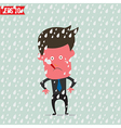 Cartoon Business man use thermometer measure vector image