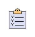 checklist clipboard result paper flat color line vector image