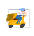 cheerful guy riding a scooter delivering pizza vector image vector image