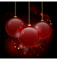Christmas red glass baubles vector image vector image