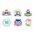 colorful anniversary labels collection 80 10 30 vector image vector image