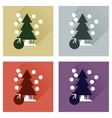 Concept of flat icons with long shadow Tree bag vector image vector image