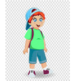 cute smiling redhead ginger schoolboy with vector image