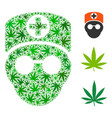 doctor head collage of hemp leaves vector image