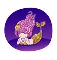 dreamy lying cartoon mermaid with wavy purple hair vector image vector image