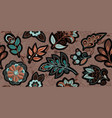embroidery seamless pattern with beautiful flowers vector image