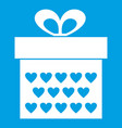 gift box with ribbon bow icon white vector image