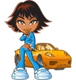 Girl With Attitude and Car vector image vector image
