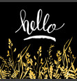glitter golden leaves card with hello hand vector image