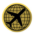 globe and plane travel sign flat black vector image vector image