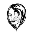 hand drawn of beautiful woman surreal tattoo vector image vector image