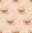 hand drawn seamless pattern with cup of tea and vector image vector image