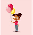 happy african girl holding balloons vector image vector image