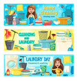 house cleaning laundry and home washing service vector image vector image