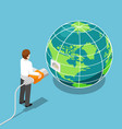 isometric businessman connecting network cable vector image