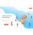 isometric flat landing page template of vector image