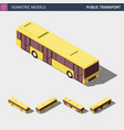 isometric icon of public city bus vector image vector image