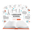 language school landing page - open book with vector image