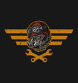 motorcycle repair service vintage colorful emblem vector image vector image