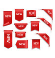 new red banners ribbons or labels 3d icons vector image