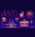 night part attractions circus and rollercoaster vector image