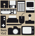 Retro computing collection vector image vector image