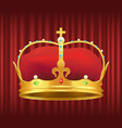 royal gold crown with gemstones and red velvet vector image
