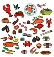 Seafood fish and delicatessen icons vector image vector image