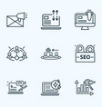 seo icons line style set with e-mail marketing vector image