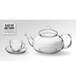 set empty glass tea cups with teapot vector image vector image