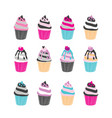 set of 12 cute cupcakes isolated on white vector image