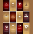 set of business cards on theme of food and drink vector image vector image
