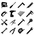 set of sixteens industrial tools in flat style vector image