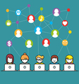 set people with computer icons in line style vector image vector image