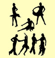 silhouette of couple dancing salsa vector image vector image
