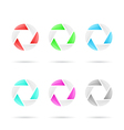Six segmented colored glassy circles vector image