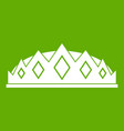 small crown icon green vector image vector image