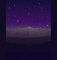 snowy mountains under the starry sky vector image vector image