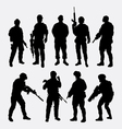 Soldier military with weapon pose silhouette vector image vector image
