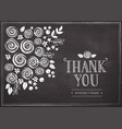 thank you card with floral background vector image vector image