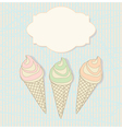 Three icecream cones with a blank label vector image vector image
